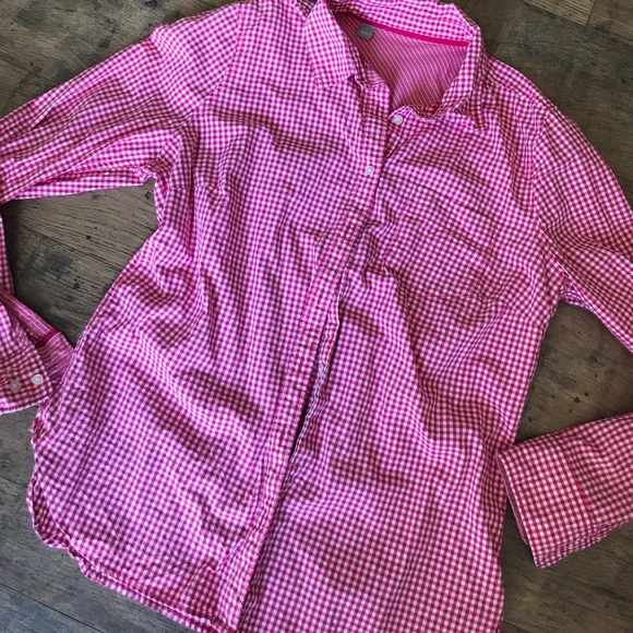 4652e5b9f1a249 Tops | Hot Pink Gingham Button Up Size Large | Poshmark